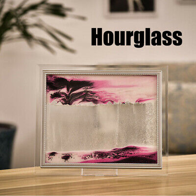 3D Dynamic Flowing Grit Sand Art Painting Glass Frame Moving Drawing Landscape