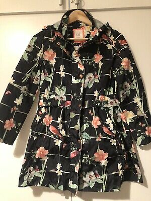 Stunning Older Girls Ted Baker Black Floral Bird Print Rain Coat Jacket 12yrs
