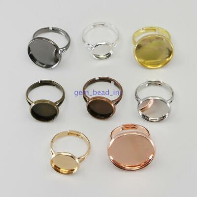 10pcs Adjustable Ring Blank Base DIY for Glass Cabochon Jewelry Making 10-25 mm