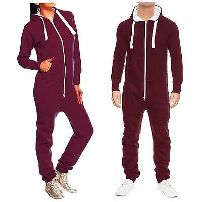 Unisex All In One Piece Two Zip Hooded Tracksuit Jogging Playsuit Jumpsuits S-XL