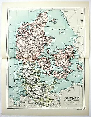 Original 1909 Map of Denmark by John Bartholomew, Antique