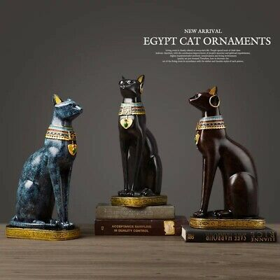 Statue Egyptian Cat Resin craft Vintage Home Decor goddess figurines