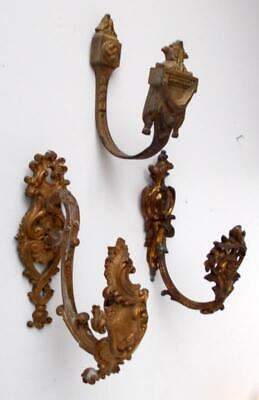 3 Larger Antique French Bronze Curtain Tie Back Hooks / Wall Hooks