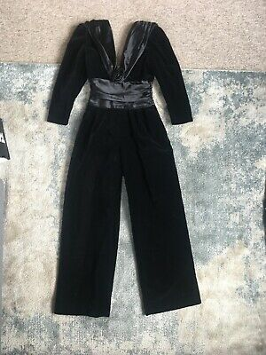 Scarvin London 1980s Black Velvet And Satin Catsuit Jumpsuit Wide Leg New Year