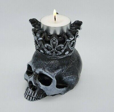 Nemesis Deliberation Tealight Holder Skull  Gothic Wicca Pagan Figurine Candle