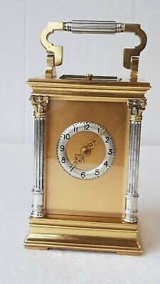 E M & CO Two-tone Ormolu and Silvered Case Repeat Strike 4 Glass Carriage Clock
