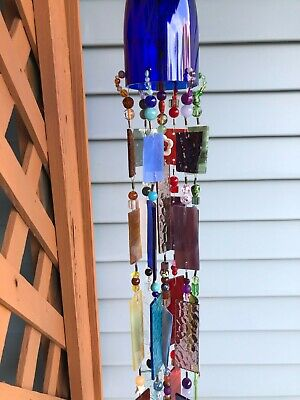 Wind Chime Sun Catcher Stained Glass Blue Wine Bottle Garden Yard Art Decor