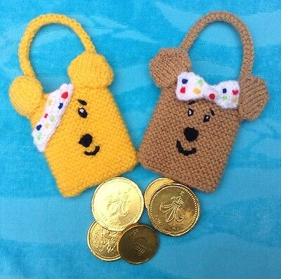 Children in Need pudsey inspired finger Puppet 14 cms toy KNITTING PATTERN
