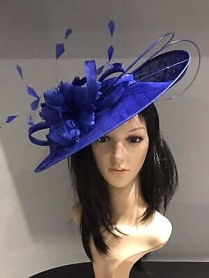 NIGEL RAYMENT ROYAL BLUE WEDDING ASCOT DISC FASCINATOR Mother Of The Bride Hat