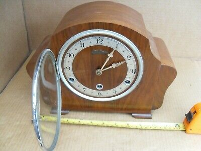 Vintage Bentima 4 Chime A Tune Mantelpiece Clock Brass Movement Mantel Nice Look