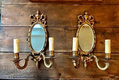 Pair Antique French Bow Top Mirror Sconces Electric Wall Lights  Candle Holders