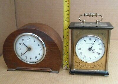 Vintage Working Wind Up Clock + Blessing Brass Electric Not Working Mantel Clock