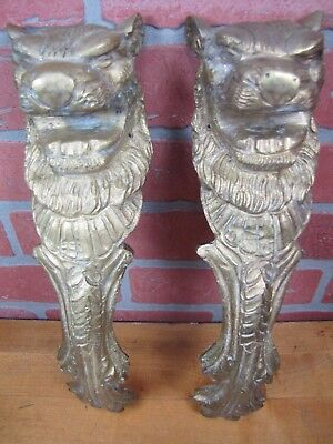 2 LION HEADS Old Cast Brass Architectural Hardware Elements Thick Solid Beasts