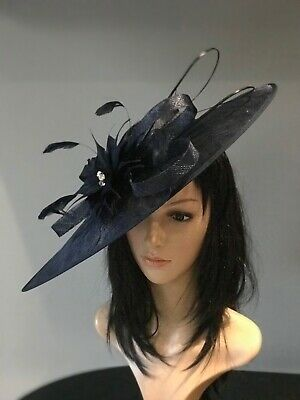 NIGEL RAYMENT NAVY BLUE WEDDING ASCOT DISC HATINATOR Mother Of The Bride Hat