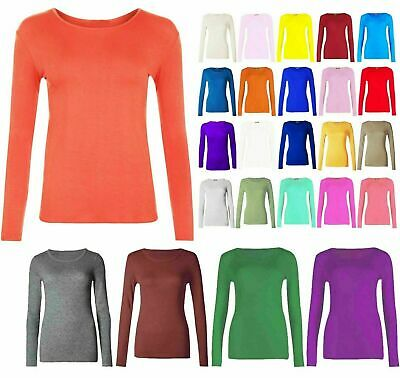 Kids Girls Long Sleeve Round Neck Plain Basic Stretch T-Shirt Top Age 2-13 Years