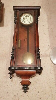 Antique German Single Weight 8 Day Walnut & Ebony Vienna Wall Clock Project