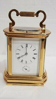 Large Oval Side Ormolu Repeat Strike Alarm 4 Glass Carriage Clock