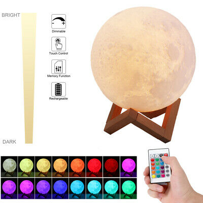 3D Moon Lamps Moonlight USB LED Night Lunar Light Touch 16 Color Changing 8-20CM