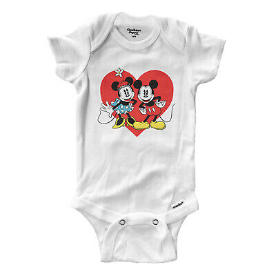 Infant Gerber Onesies Bodysuit Baby Mickey Minnie Mouse Love Couple Heart 0-24m
