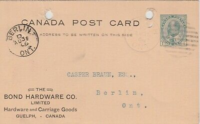 KING EDWARD VII CANADA POSTAL STATIONERY POSTCARD POSTED 1906- Berlin Ontario