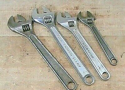 Lot Of (4) Pre-owned Adjustable Wrenches JH Williams/Sears/Craftsman/Utica Tools