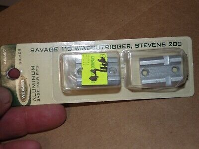 Weaver 48467 Top Mount Aluminum Base Pair Silver Savage 110 with ACCU Trigger