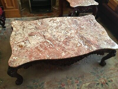 Large Genuine Pink Marble Coffee Table On Sold Carved Rosewood