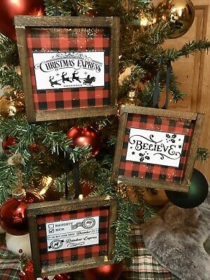 3 Farmhouse Style Rustic Christmas Ornaments Mini Signs Holidays Buffalo Check