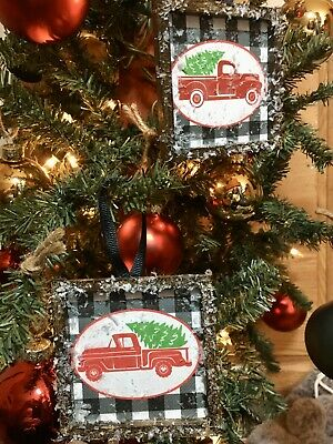 2 Farmhouse Style Rustic Christmas Ornaments Red Truck Holidays Buffalo Check