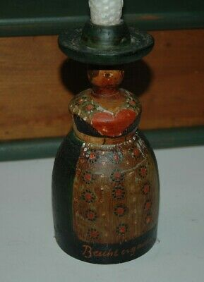 Primitive Folk Art Antique Barvarian Alps Wood Candlestick Signed Berchtesgaden