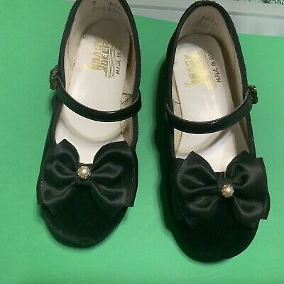 Baby Deer Velvet Size 7 Girls Shoes (d) Black Satin Bow With Pearl. Dressy Party
