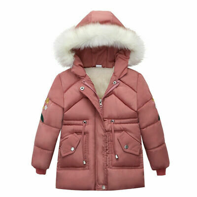 Kids Boys Girls Lined Hooded Padded Quilted Coats Winter Warm Jackets Faux Fur