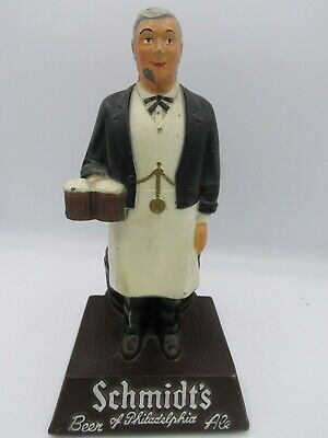"Vintage Cast Schmidt's of Philadelphia Waiter Bar Display 8"" Metal Beer Ale"