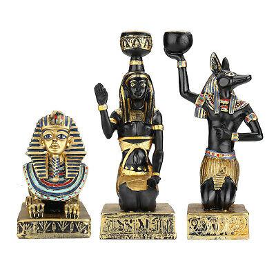 Resin Egyptian Figurine Candle Holder Anubis Vintage Statues Craft Home