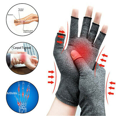 Anti Arthritis Copper Fingerless Gloves Compression Therapy Circulation Strict
