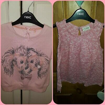 NEXT Cute Dog Sequin Pale Pink Girls Sweatshirt & Pink Silver Summer Top age 6