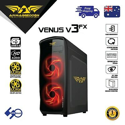 PC Computer Gaming Case Mid Tower with 2x120mm LED Fan ARMAGGEDDON V3FX