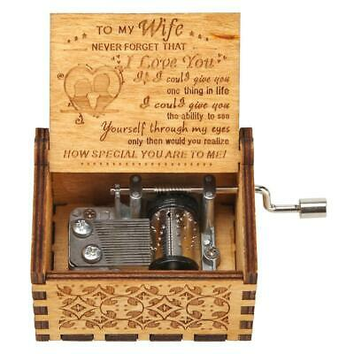 Wooden Music Box Harry Potter Game of Thrones Star Wars Engraved Xmas Kids Gift