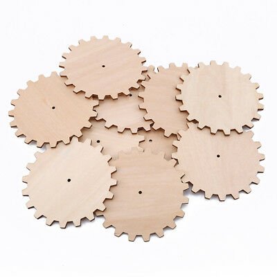 10Pcs Wood Unfinished Gear Cutout Chips for Board Game Arts 8C