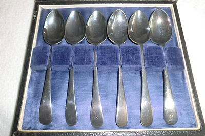 Antique Set Of 6 SILVER Electro PLATE Small Tea Spoons with Case EPNS EPNS*S