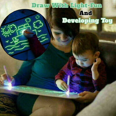 Kids Boy Light Up Drawing Fluorescent Magic Writing Board Kit Fun Developing Toy