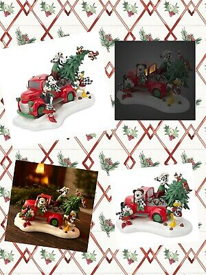 Disney Mickey Mouse & Friends Light-Up Red Truck Holiday  CHRISTMAS Figurine