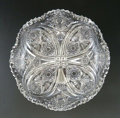 Antique 19th Century ABP American Brilliant Period Cut Crystal Glass Bowl Dish