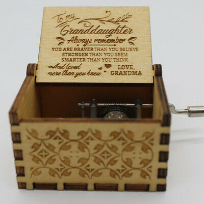 Vintage Wooden Music Box Antique Hand Crank Clockwork Music Box Birthday Gift