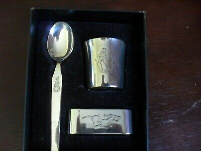Vintage Christening Silver Plated by Falstaff = eggcup + spoon + napkin ring.