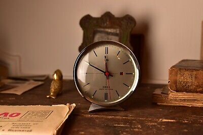 Vintage Chinesse Mechanical Clock Wind Up Alarm Clock Old Ringing Table Clock