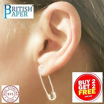 Pair Solid 925 Sterling Silver Safety Pin Paper Clip Hoop Drop Ear Cuff Earrings