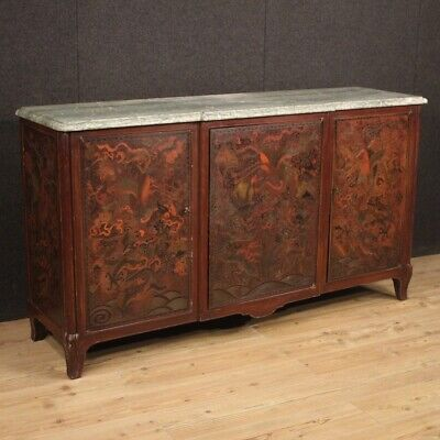 Cupboard Lacquered a Chinoiserie Furniture Wooden Painting Level Marble Antique