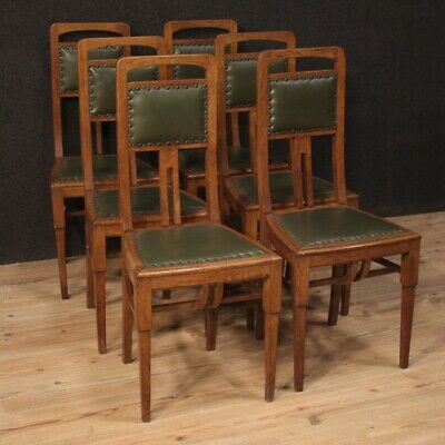 6 Chairs Furniture Wooden Art Deco Armchairs Seats Skin Antique Style Living