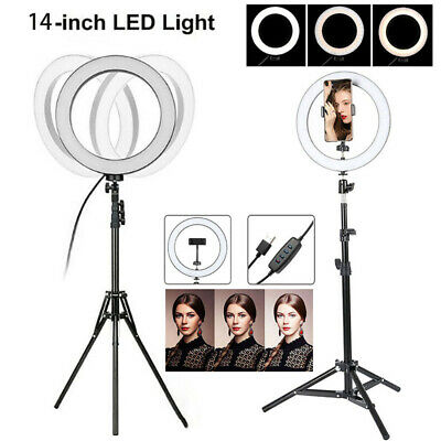 Video Photo Ring Light Lighting Kit 14 inch Outer Dimmable LED + Light Stand UK